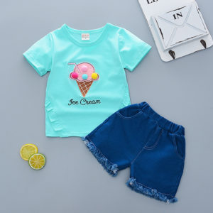 0-4years Girl IceCream Cone Summer Shirt & Shorts