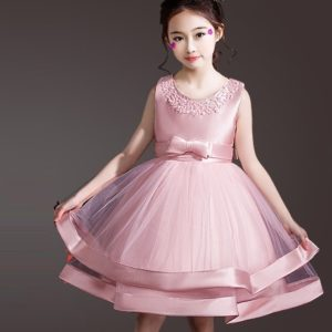 2-8 year Girl Pink gorgeous Bow Frock