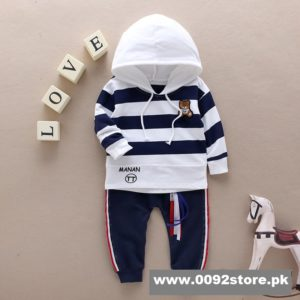 3-4 year Navy White Hooded Shirt & Trouser
