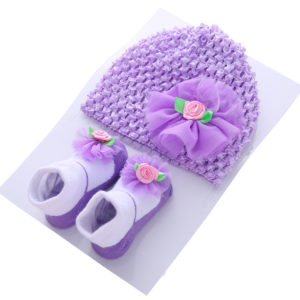 Purple 0-12 months Baby Cute  hat + socks gift box set