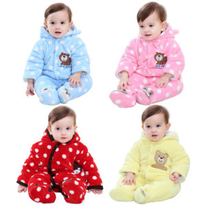 0-1 years Baby Winter Warm Double layer Coral Velvet padded Romper
