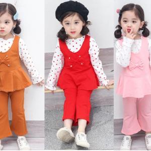 Cute Girl Dots Shirt + Upper Bow Shirt + Bell Bottom