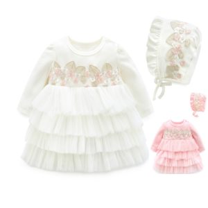 8-12 months Baby Girl Pink Embroidery Frock + Cap