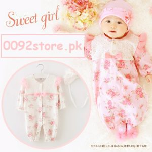 0-18 months Cotton Baby Girl Floral Romper + Cap / covrtable sleeping Bag