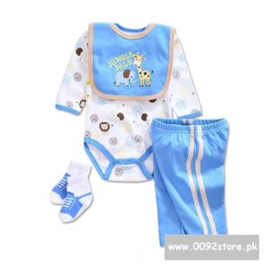 9-12 months Baby Blue Jungle Pals embroidered Bib+romper+Pants+socks 4 pcs set