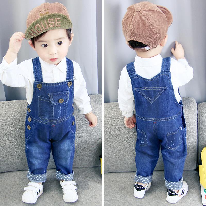 721e0765efd49 ... 0-4 years kids Cute Jeans pocket brown button Bear Romper. denim Jeans  , Katrai Velvet , Jeans , kids Jeans , Girl Pants Boy Pants ,