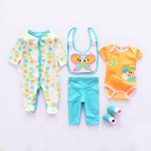 3-12 months Baby Girl Cute Orange Butterfly Bib+romper+Pants+Body Suits+ Socks 5 pcs set