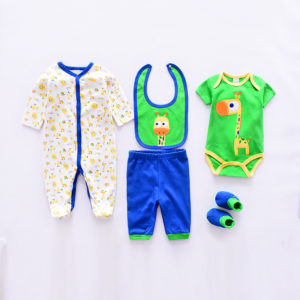 6-12 months Baby Cute Green Giraffe Bib+romper+Pants+Body Suits+ Socks 5 pcs set
