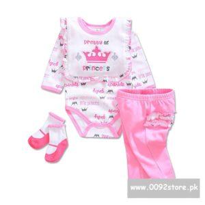 3-12 months Baby Girl Pretty Princess Bib+romper+Pants+socks 4 pcs set