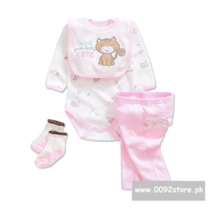 3-12 months Baby Girl Cute Cat Bib+romper+Pants+socks 4 pcs set