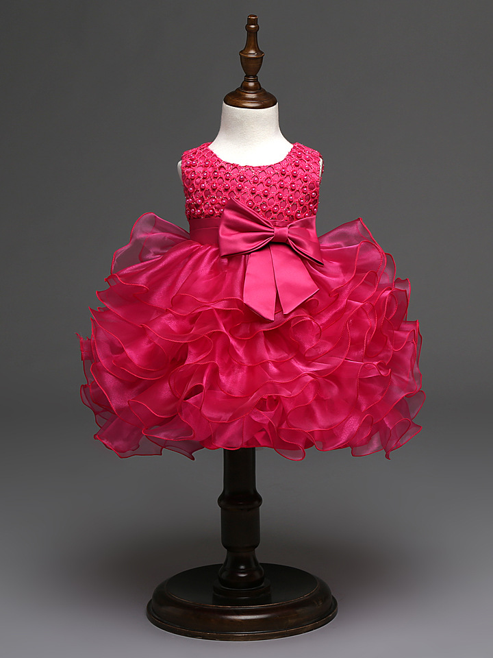 e2670447eee6 0-3 years Baby Girl Dark Pink Flair Pearls Frock - 0092 Store