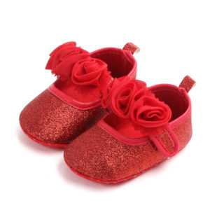 Baby Girl Red Shimmer Red Roses Soft Shoes