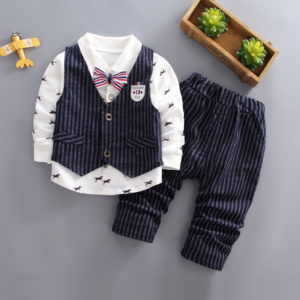 3-5 years Boys Lininh Waist Coat + Pants + Horse White Shirt with Bow