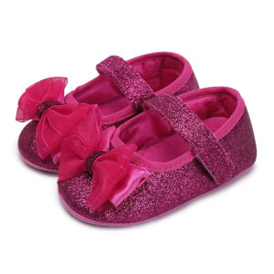 Baby Girl Dark Pink Shimmer Bow Booties