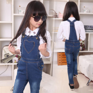7 years Girl Ruffles Heart Denim Jeans Dungaree