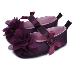 Baby Girl Plum Flower Soft Shoes