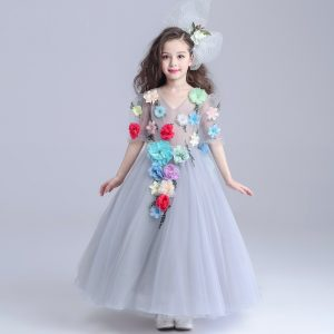 3-12 years Gray Flowers Gown