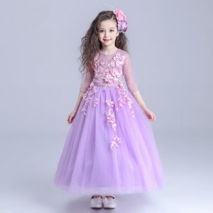 4-12 years Purple Pink Floral Gown for Summer