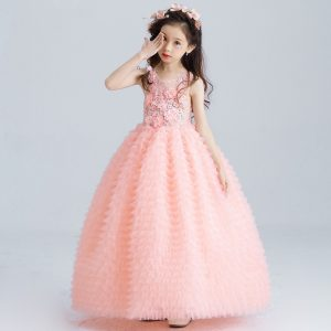 7-13 years girls Gorgeous Peachy Florence Couture Gown for Summer