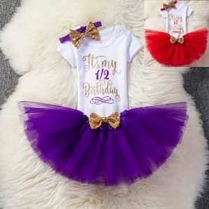 1/2 (6months) and 1st year Birthday Baby Girl Romper+tutu+ head band