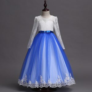 3-10 years Girl Blue & White Gown