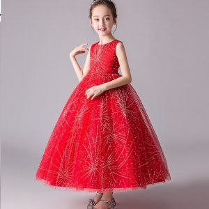 3-12 years Girl Red Shimmer Long Gown for Summer