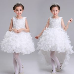 2-10 years Girl White Separable Tail Organza Ruffles Frock for Summer
