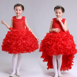 2-10 years Girl Red Separable Tail Organza Ruffles Frock for Summer
