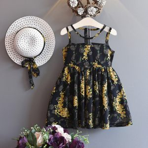 4-5 Years Black & golden Floral Chiffon frock lined with cotton with Hat