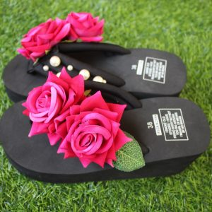 Women Dark pink Rose & Pearls Black Thick Slipper for Summer