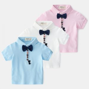 1-6 Years Cotton Cat Embroidery Bow Shirt