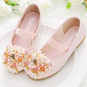 Peach Pearl Flower imported Extra Soft Girl Shoes