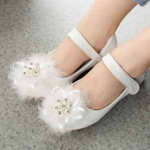 White Fur Ribbon lmported Extra Soft Girl Shoes