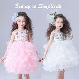 4-10 years Girl Beautiful Details Organza Ruffles Frock for Summer