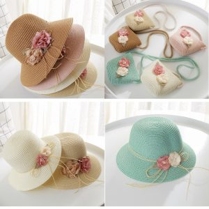 Mother  Daughter flower small bag travel leisure straw  summer sunscreen breathable  beach hat
