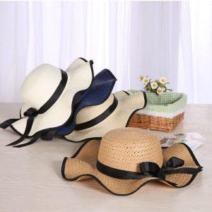 Girls Beach Lala straw sunscreen bow   big hat