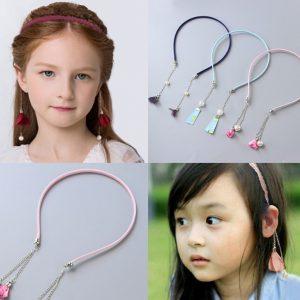 Children super fairy with fake earrings pearl headband