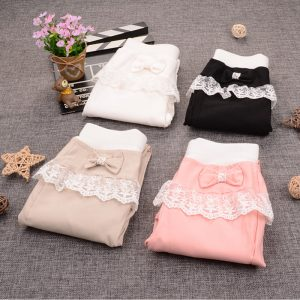 Girls stylish bow lace  cotton pants