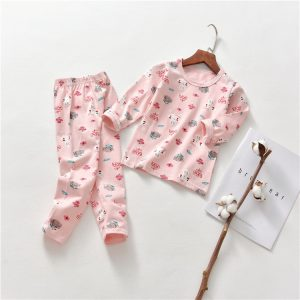 Baby Pink Night Wear Long Sleeves T-Shirt & Trouser / sleeping suits