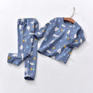 Blue Night Wear Long Sleeves T-Shirt & Trouser / sleeping suit