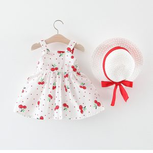 Cute Baby Cherry Cotton Frock with Cap