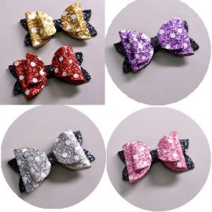 Girls Bow Dots Print Clips