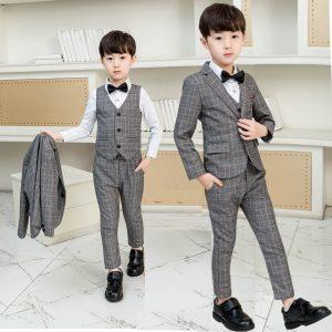 2-3 years Gray Check Fabric Coat + Waist Coat + pant + Bow