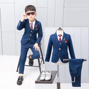 Blue self Check Coat + Waist Coat + pant + Bow