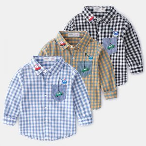 3-6 years Boy Car Embroidery Cotton Oxford Long-Sleeved Suit check Shirt
