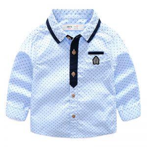 3-7 years Boys Sky Blue Dots Cotton Oxford Long-Sleeved Shirt