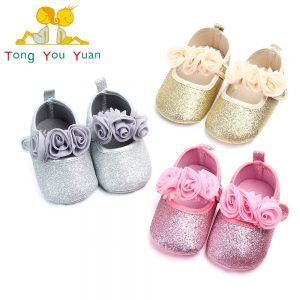Baby Girl Roses  Shimmer Soft Winter Shoes