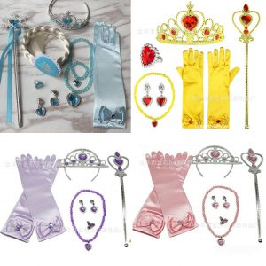 Princess Gloves+2 Sided Wig+Magic wind+Crown+Necklace+Earnings+Ring Set / Elsa