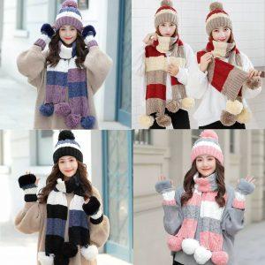 Women Warm Korean Winter 3 pieces Gloves Wool Cap and Muffler set