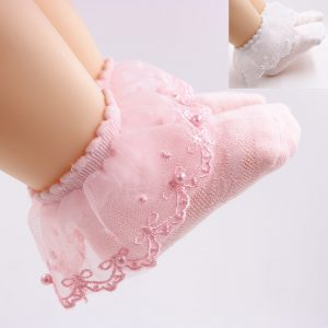 0-12 years Delicate Pearls Lace Frill Thin White & Pink Socks Set